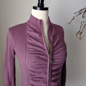 ADRIENNE VITTADINI Full Zip Up Fitted Stretch Top